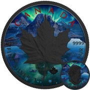 Canada CRACK OF DAWN AURORA Canadian Maple Leaf series THEMATIC DESIGN $5 Silver Coin 2017 Black Ruthenium plated 1 oz